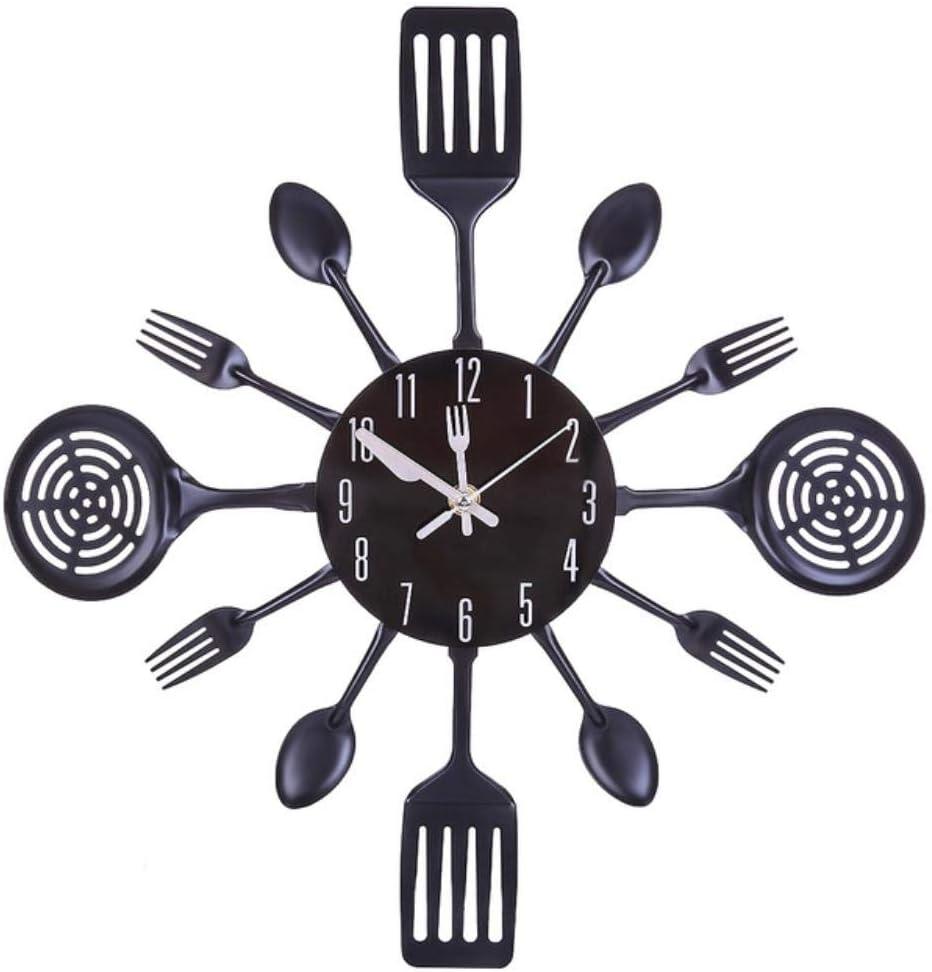 JYYA 31-41cm Acero Inoxidable Cocina Cuchara Tenedor Reloj Silencioso Reloj de Pared Decoración de la Sala Estilo mediterráneo Decoración del hogar- Plata, 41cm: Amazon.es: Hogar