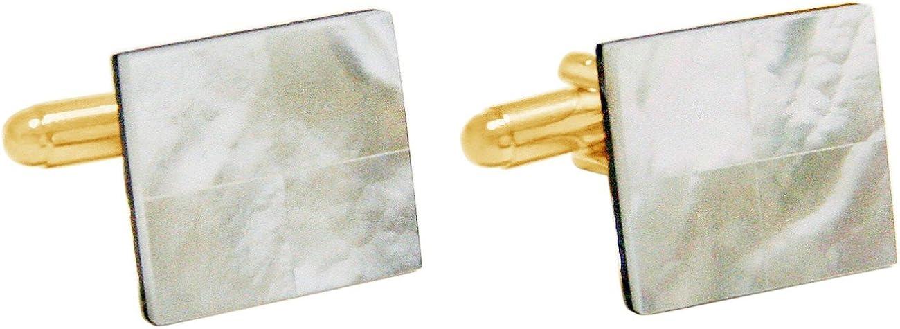Vergoldet Gemshine 16 mm Manschettenkn/öpfe Wei/ß Perlmutt