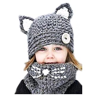 9152286c0e5 VAQM Kids Hat Girls Boys Winter Hats Warm Earflap Hood Scarves Animal Hat  Scarf Beanie Scarf