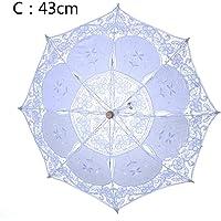 Ombrellone ombrello in pizzo retro corte stile pizzo bianco ombrello Victorian Lady costume di festa nuziale decorazione puntelli foto, bianco