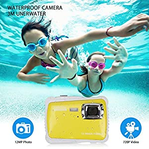 Waterproof Camera for Kids Digital Underwater Camera with 3M Waterproof 2.0 Inch LCD Screen,12MP HD Resolution, 8x Digital Zoom, Flash and Mic(Yellow from LDF