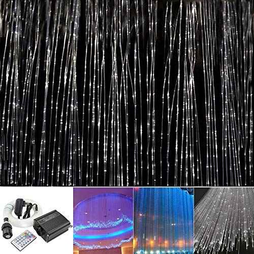 Huaxi 16W RGBW Fiber Optic Sensory Lights kit for Sensory den Waterfall Curtain Light with Flash Point Fiber Optical Cables 450 Strands 0.03in/0.75mm -