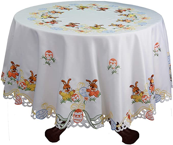 Colorful Fun Easter Eggs Signature Tablecloth Assorted Sizes
