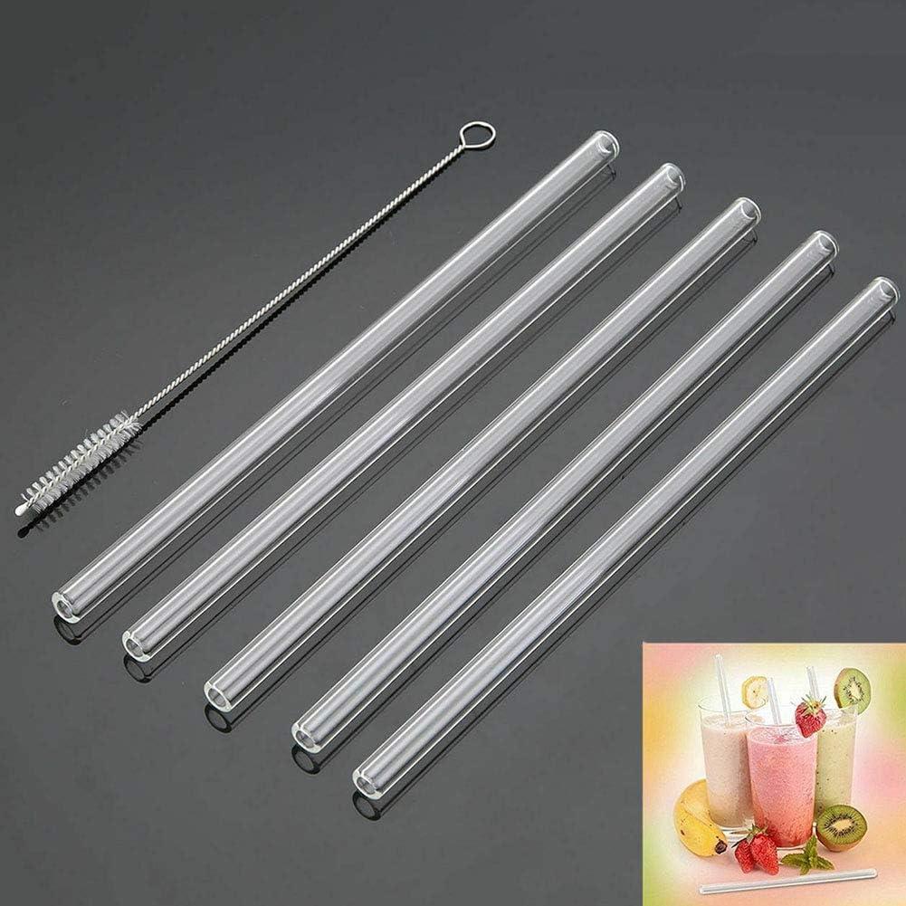adecuado para batidos gruesos Pajita de cristal chutoral de 1//2 pulgadas extra ancha x 25 cm de largo t/é de burbujas y batidos una pajita reutilizable con un cepillo de limpieza