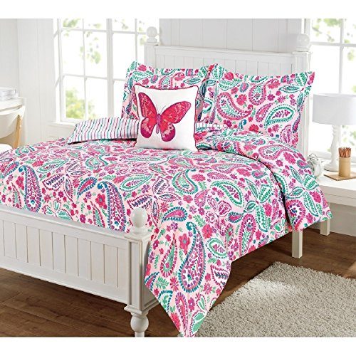 (4 Piece Watercolor Canvas Paisley Motif Reversible Comforter Set Full Size, Bright Wild Garden Flowers Prints Bedding, Reverse Geometric Thin Stripes Pattern, Vibrant Nature Lovers Themed, Pink, Teal)