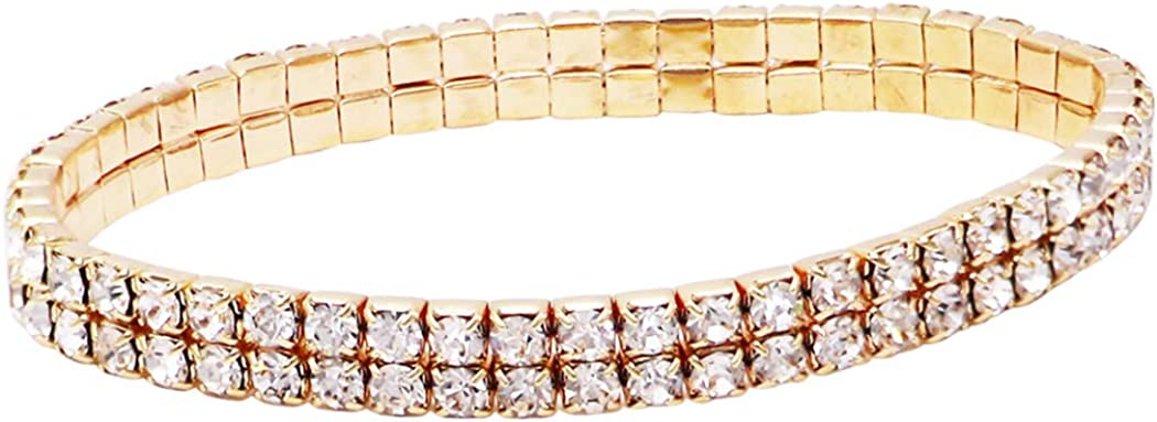 Rosemarie Collections Women's Double Row Crystal Rhinestone Stretch Ankle Bracelet Anklet