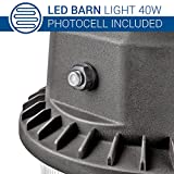 Hyperikon Outdoor LED Barn Light Dusk to Dawn with Photocell, 40W (200W Equivalent) 5000K Crystal White 4000 Lumens Bright Security Area Light, IP65