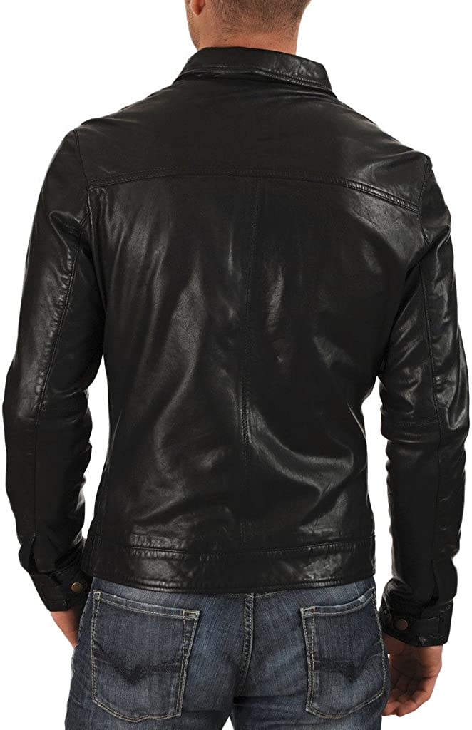 Mens Leather Motorcycle Slim Fit Jackets LF016