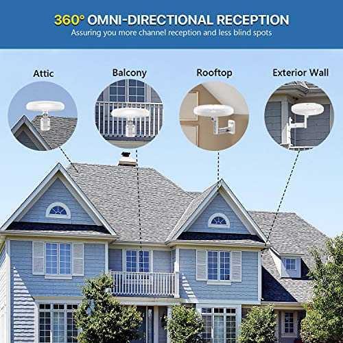 [New Version] HDTV Antenna - 1byone 360° Omni-Directional Reception Amplified Outdoor TV Antenna 150 Miles Long Range for Indoor,Outdoor,RV,Attic Support 4K 1080P UHF VHF Free HDTV Channels
