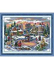 Full Range of Stamped Cross Stitch Kits 11 CT, 100% Cotton DIY Embroidery Starter Kits DIY Needlework for Beginners Kids Adults(Treasure time 27.6'' x 21.3'' )
