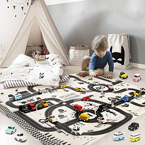 Hot  2019 Kids Rug Area Play Mat Car Carpet - 51.18 x 39.37 inch Road Buildings Parking Map Game Educational Toys Baby Gyms & Playmats - Friendly Interactive Toy (♥ Black)