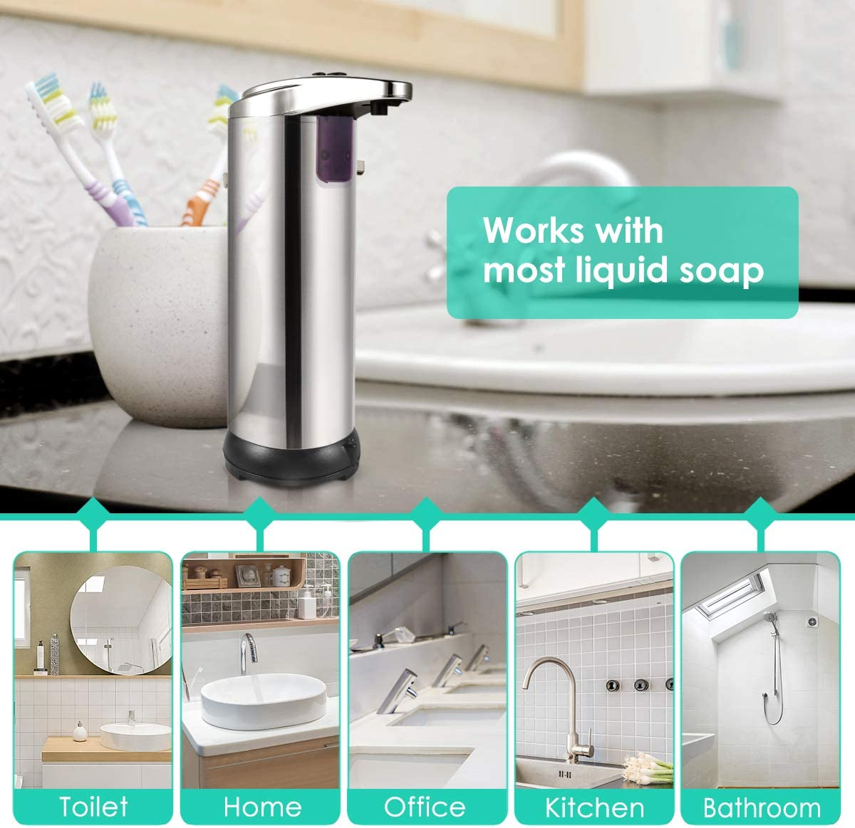 HAYI Automatic Soap Dispensers Infrared Motion Sensor Touchless with 2 Levels Dispensing Volume 300ml//10.2oz Foam Soap Dispenser Waterproof Base for Kitchen//Bathroom//Hotel//Hospital