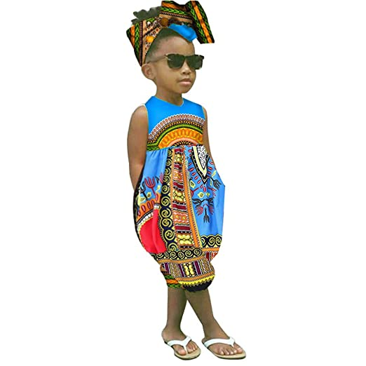 d6304003c Fheaven 2Pcs Toddler Kids Baby Girl Summer Outfits Clothes African Print  Sleeveless Romper Jumpsuit +Headband