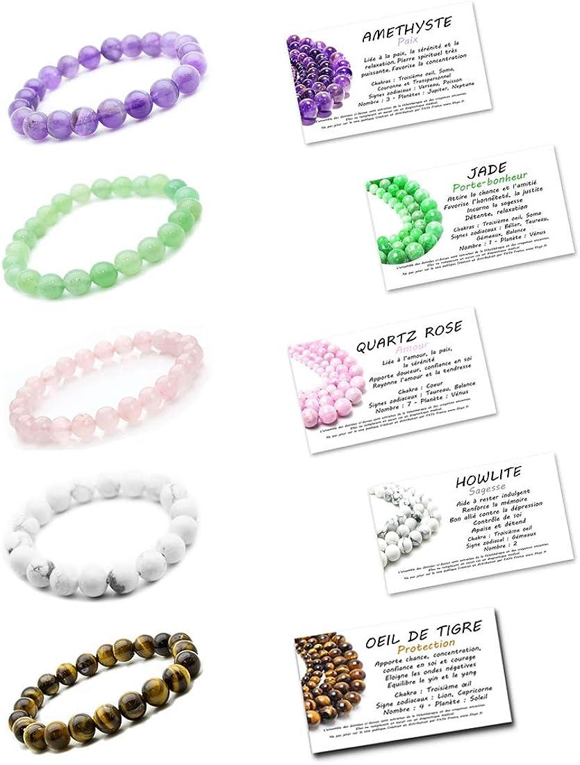 5 cartes propri/ét/és des pierres Offerte Marque FitYo Jade 5 Pcs Bracelets Pierre naturelle Am/éthyste Quartz rose et Oeil de tigre Homme ou Femme 16 /à 18 cm Howlite