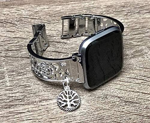 Amazon.com: Silver Metal Links Bracelet For Fitbit Versa