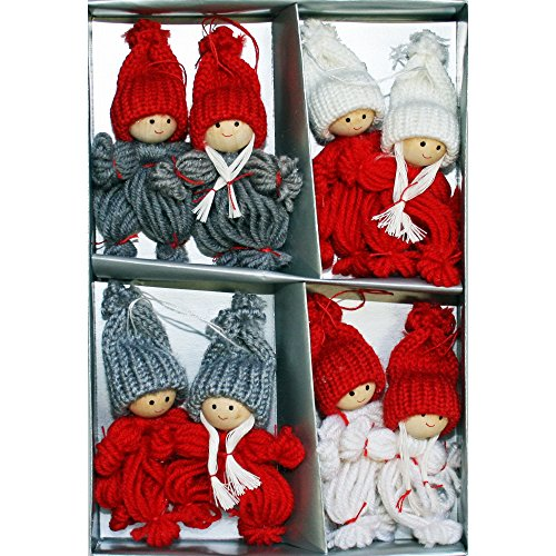 Nordic Santa Ornament (Tomte-Santa Yarn Ornaments Boys and Girls - 3.5 inch - 8 Pack)
