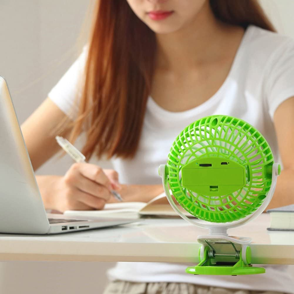 Portable Adjustable Cooling Desk Desktop Table Clip on USB Fan with 2600mAh for Home Office Bedside Reading Ovelur Mini Personal Fan