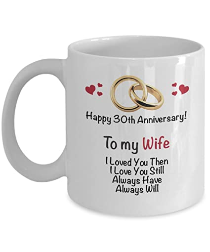 Amazon com | Happy 30th Anniversary Mug - Wife 30 Year Wedding