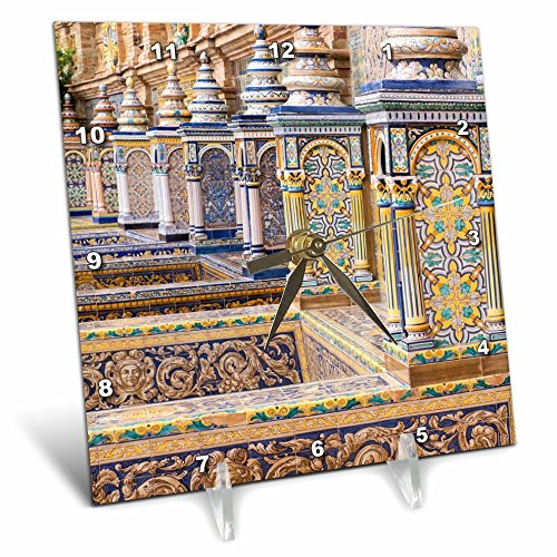 3dRose Danita Delimont - Spain - Spain, Andalusia, Seville. Plaza de Espana ornately decorated. - 6x6 Desk Clock (dc_277899_1) by 3dRose