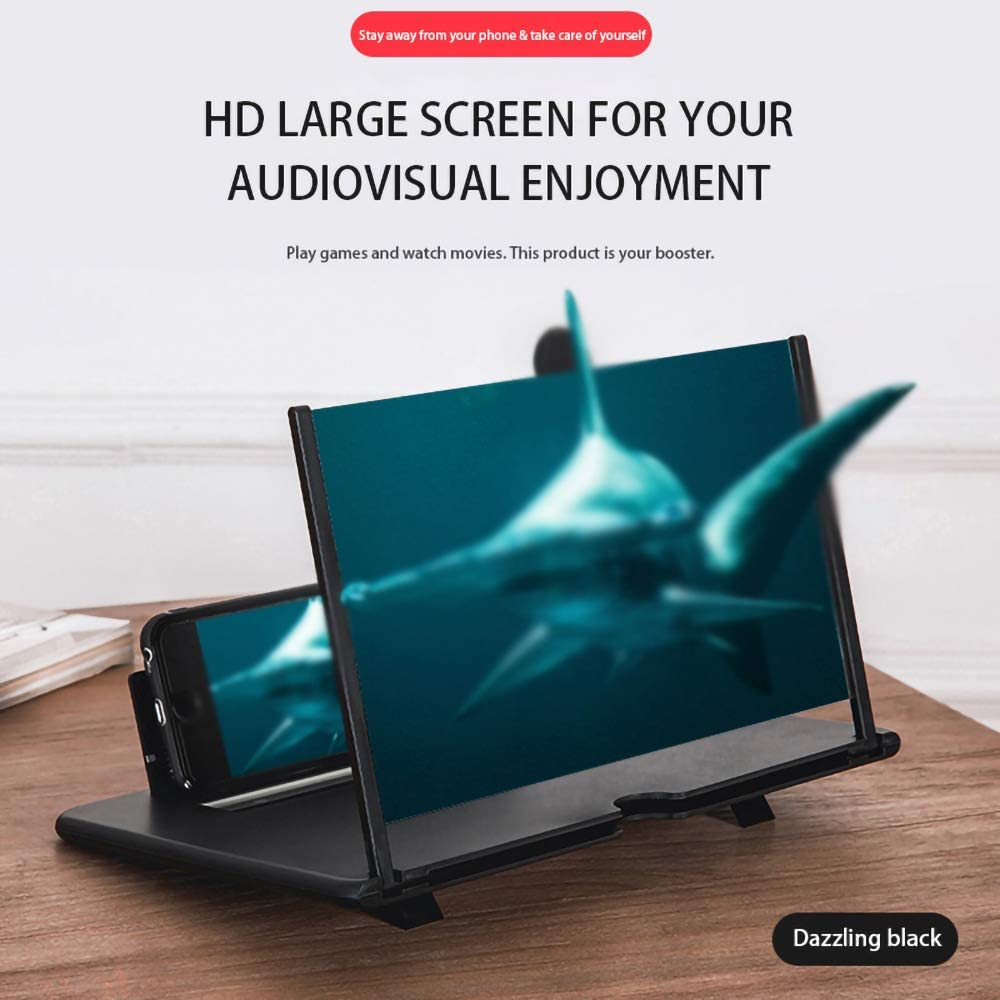 ZWBTY High Definition Mobile Phone Screen Amplifier with Magnifying Folding Phone Desk Holder for Movie Game Phone Amplifier for Any Smart Phones,Black