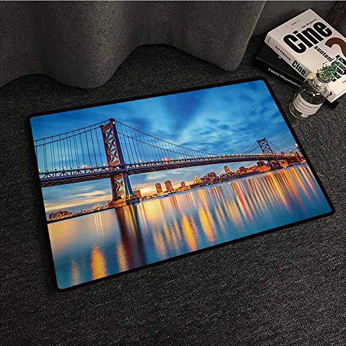 Apartment Decor Collection Modern Door mat Ben Franklin Bridge Reflection on Sea Sundown Dramatic Sky Panoramic Landscape Suitable for Outdoor and Indoor use W31 xL47 Blue Bright Gold