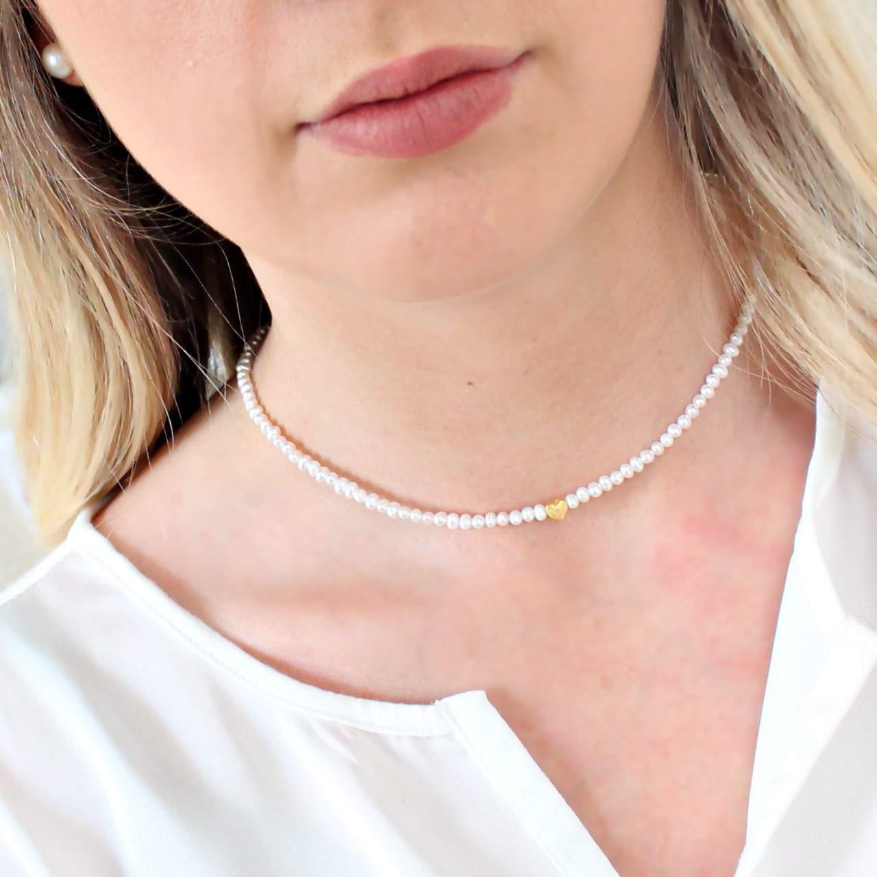 Zarte Perlenkette aus echten S/ü/ßwasser-Perlen mit kleinem Herz sch/önes Geschenk Silber oder gold