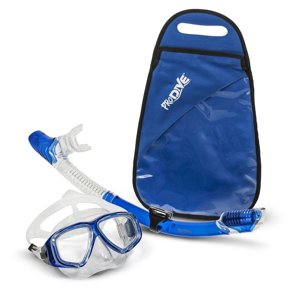 ProDive Premium Dry Top Snorkel Set - Impact Resistant Tempered Glass Diving Mask, Watertight and Anti-Fog Lens [Crystal Clear for Best Vision] Easy Adjustable Strap. Waterproof Gear Bag Included.
