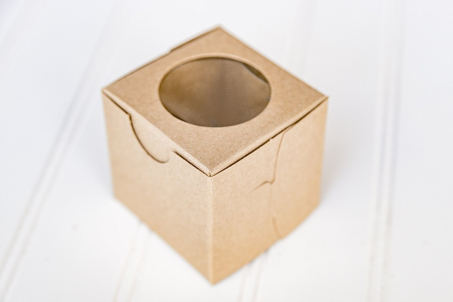 The Buttercup House 12 Kraft Brown Mini Cupcake Boxes Window 2.5 x 2.5 x 2.5 inches