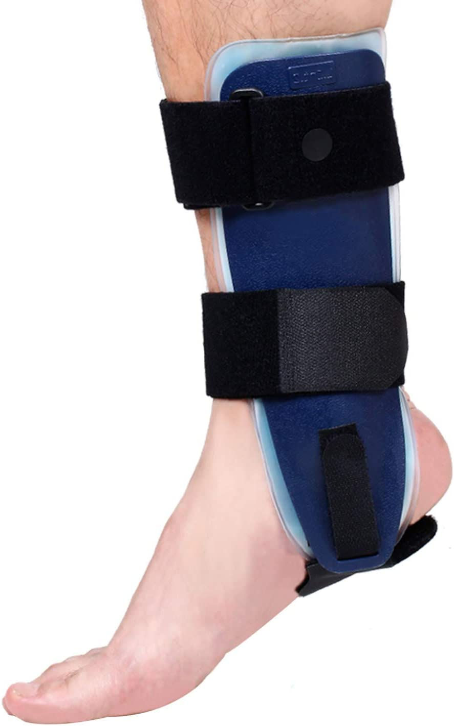 Velpeau Ankle Brace - Stirrup Ankle Splint - Adjustable Rigid Stabilizer for Sprains, Strains, Post-Op Cast Support and Injury Protection (Gel Pads, Small - Right Foot)