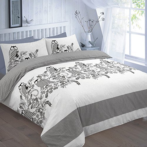 Price comparison product image DECENT OWL-ISLAND DUVET SET - Duvet Cover & 2 Pillow Cases, POLYCOTON OWL PRINTED BEDDING : BLACK ALL UK SIZES (SUPER KING, OWL - BLACK) by Nightzone