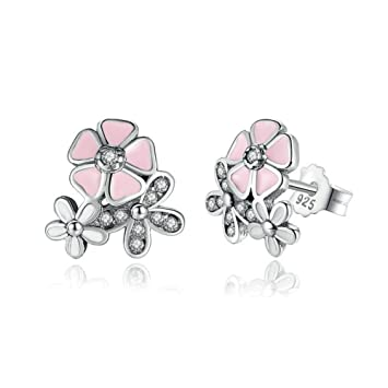 db430448e Image Unavailable. Image not available for. Color: Cherry blossoms Stud  Earrings - Authentic 925 Sterling Silver - European-style Charm