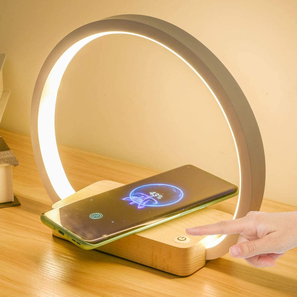 Multifunctional Bedside Lamp with Wireless Charger White LED Desk Lamp, USB Charging Port, 3 Lighting Modes, Touch Control Table Lamp Eye-Caring Reading Light for Kids, Adults, Home, Dorm and Office
