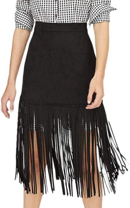 TUDUZ Mujer Faldas Largas Verano Borla Enaguas Color Sólido Playa ...