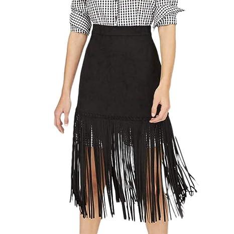 Shenye - Falda Sexy para Mujer, Falda Larga, Plisada, Color Negro ...