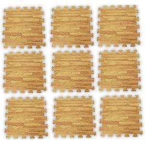 9 Piece Set Of 12 X 12 Inch Cushioned Floor Mats With interlocking edges & Oak Wood Looking Finish: D6411 9 OAK