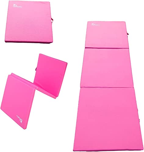 5 Star TD Gymnastics Mat 2x6 Tri-Fold 2 Thick Folding Exercise Tumble Mat with 2 Carrying Handles for Gymnastics, Yoga, Aerobics, Mixed Martial Arts, Home Gym Exercise Workout Mat Pink