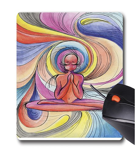 Price comparison product image AOFFLY Green Girl Canvas - Yoga Burst - Non-Slip Rubber Mousepad Gaming Mouse Pad