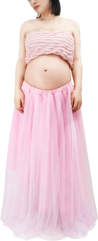 Happy Cherry - Traje de 2 Piezas Ropa Fotos Embarazada Disfraz Pre-mamá Maternity Dress Ruffle Falda Fotografía + Top - Rosa