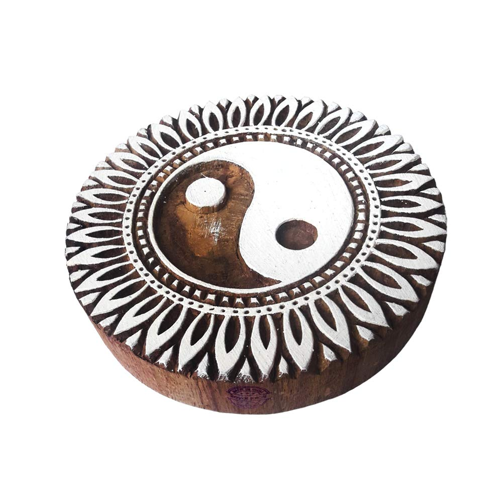 8 Inch Abstract Large Wood Block Ying-Yang Round Shape Big Printing Stamp