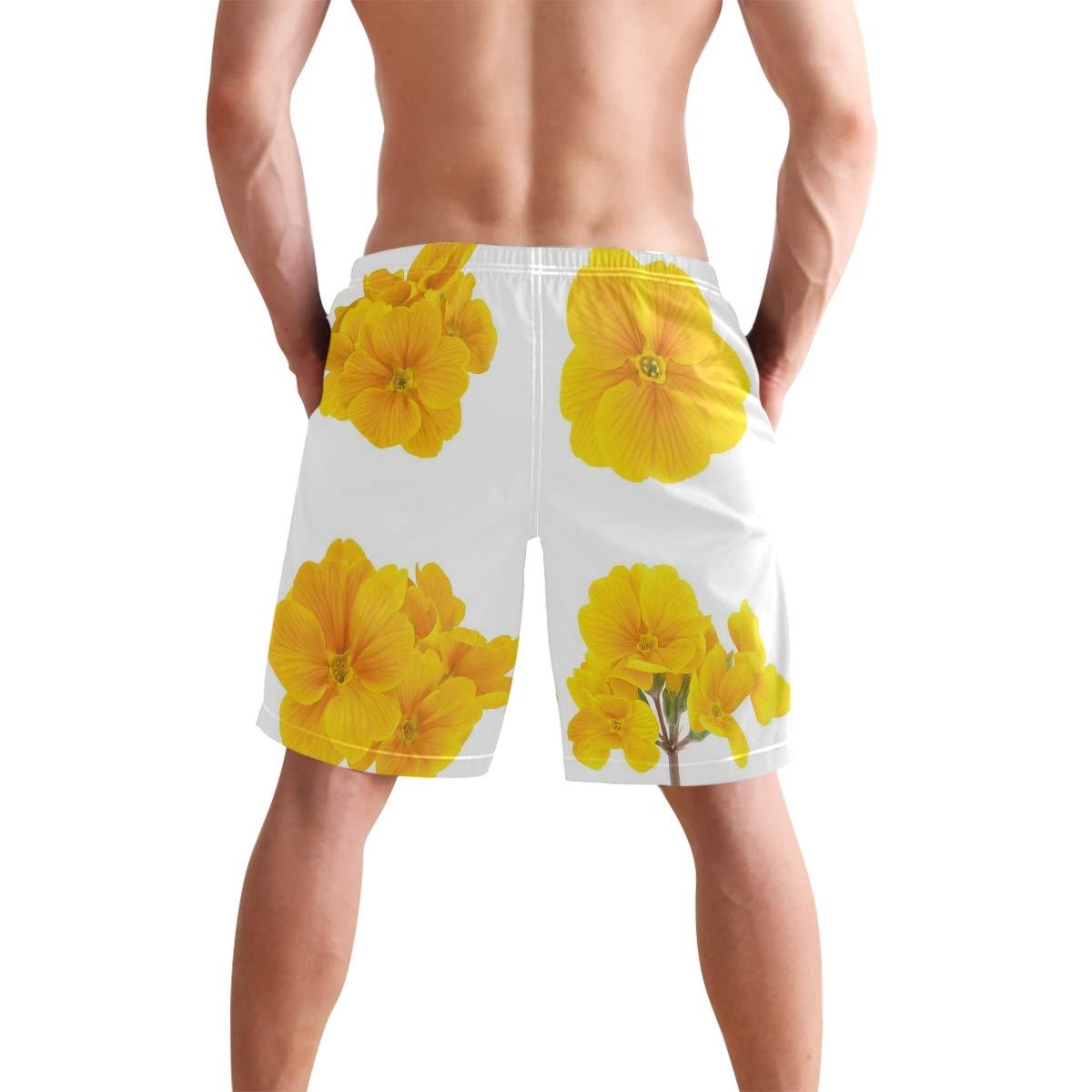 YOLOLIS Yellow Flower Fashion Mens Swim Trunks Quick Dry Boardshorts