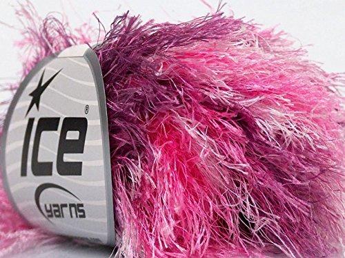 My Girl - Pink, Lilac, White Long Eyelash Colorful Yarn 50 Gram 32 - Yarn Long Eyelash