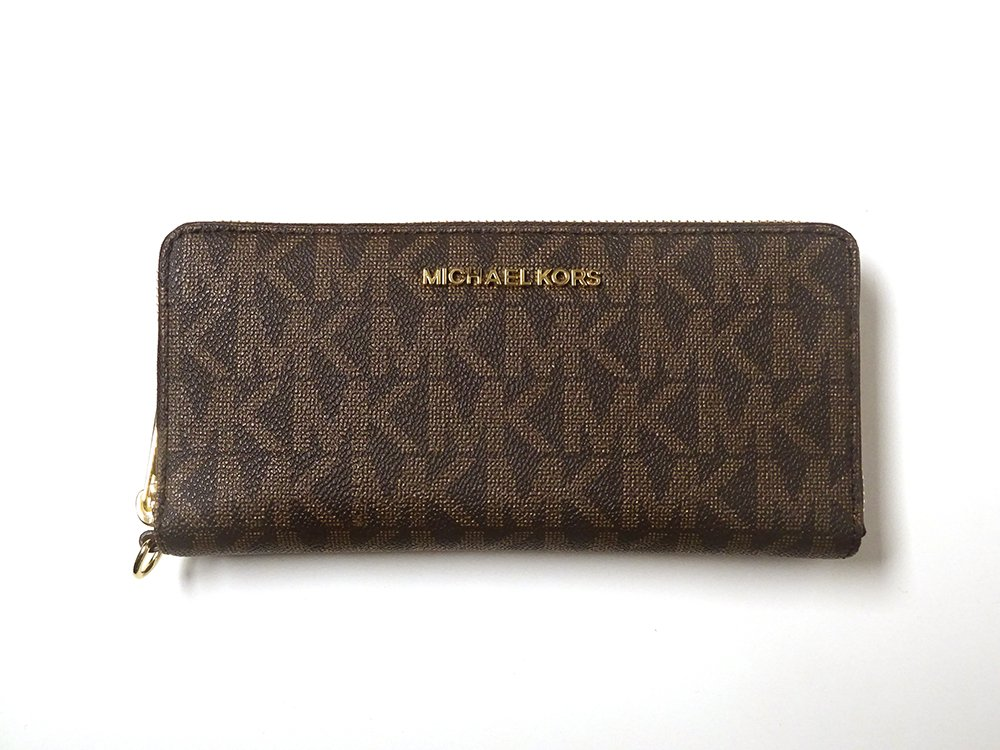 Michael Kors Jet Set Leather Large Zip Around Travel Wallet Brown Acorn