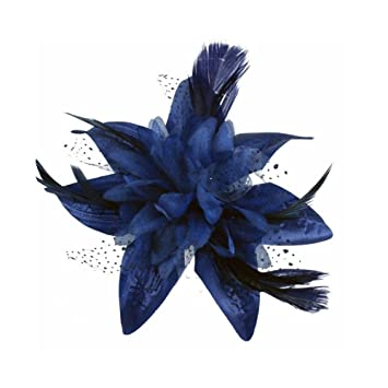Amazon.com   Navy Blue Spotted Net Flower and Feather Hair Comb Fascinator    Beauty d46edf878b6