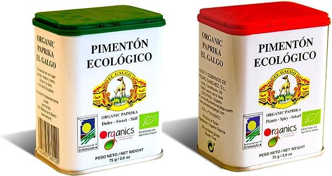 PIMENTON ECOLOGICO EL GALGO.- Pack de dos sabores Dulce y Picante ...