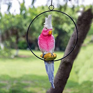 Iron Ring Parrot Statue Decor Garden Decoration Crafts Outdoor Patio Balcony Decorative Ornaments Animal Sculptures Collection for Parrot Lovers H-2020-4-9 (Size : Pink)