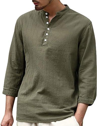Camisa para Hombre Lino Blusa Casual de Manga Top Sin Cuello de ...