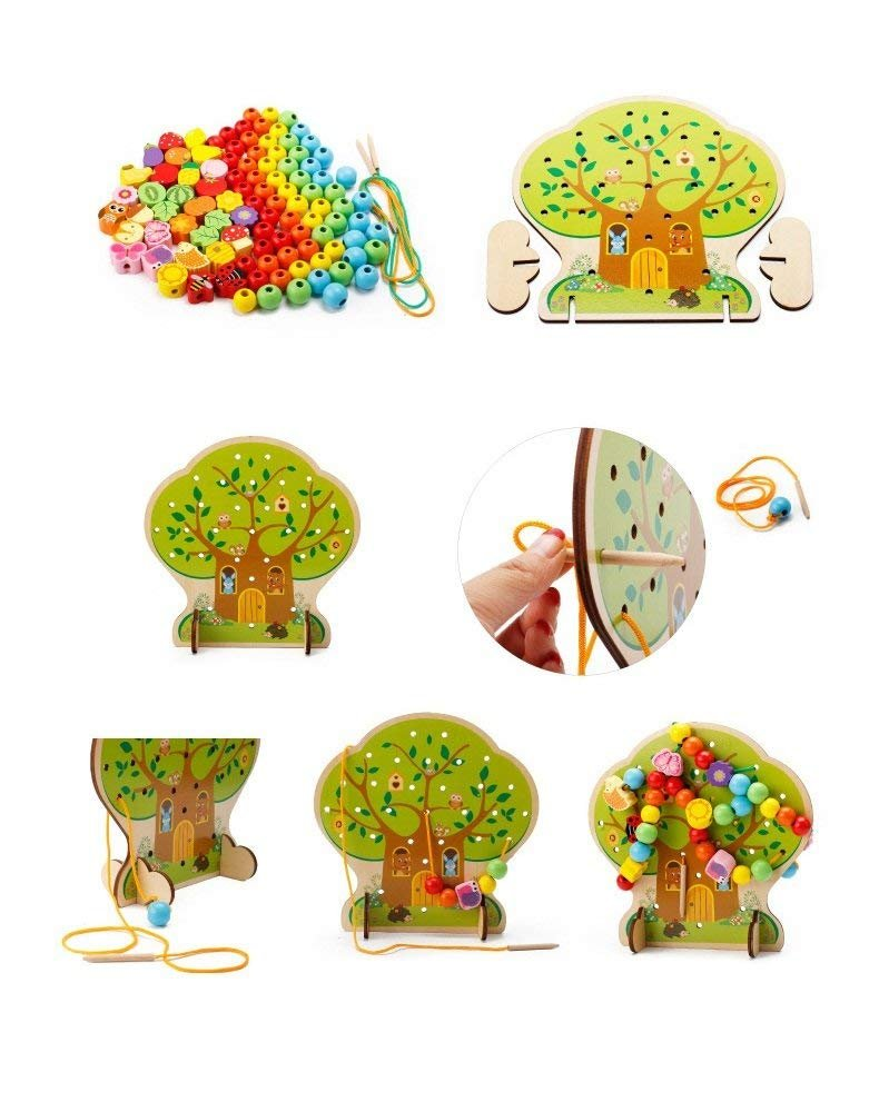 KQMY Toddler String Toys Threading Learning Early Development Educational Wood Block Puzzles