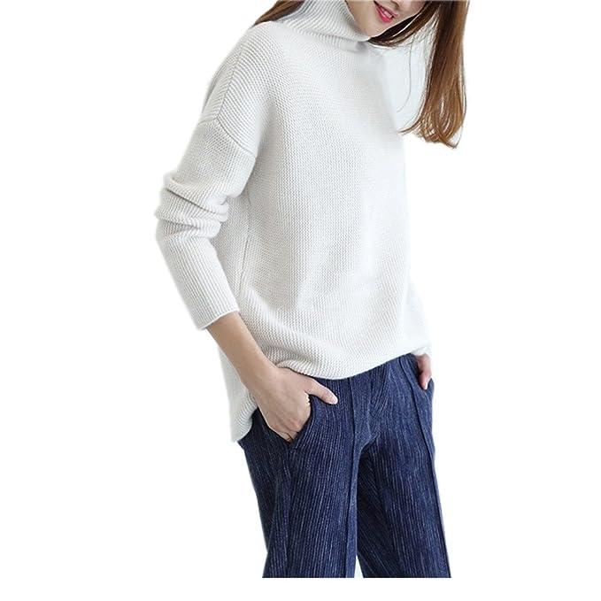 Wenwenma Suéter de Cachemira Casual de Cuello Alto para Mujer ... 9263cf4c5738
