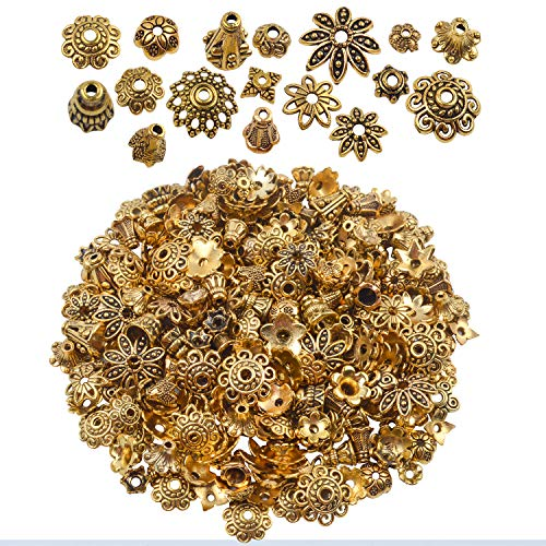 Gold Caps Bead - BronaGrand 100 Gram(About 250-350pcs) Bali Style Jewelry Making Metal Bead Caps Deluxe New Mix,Antique Gold