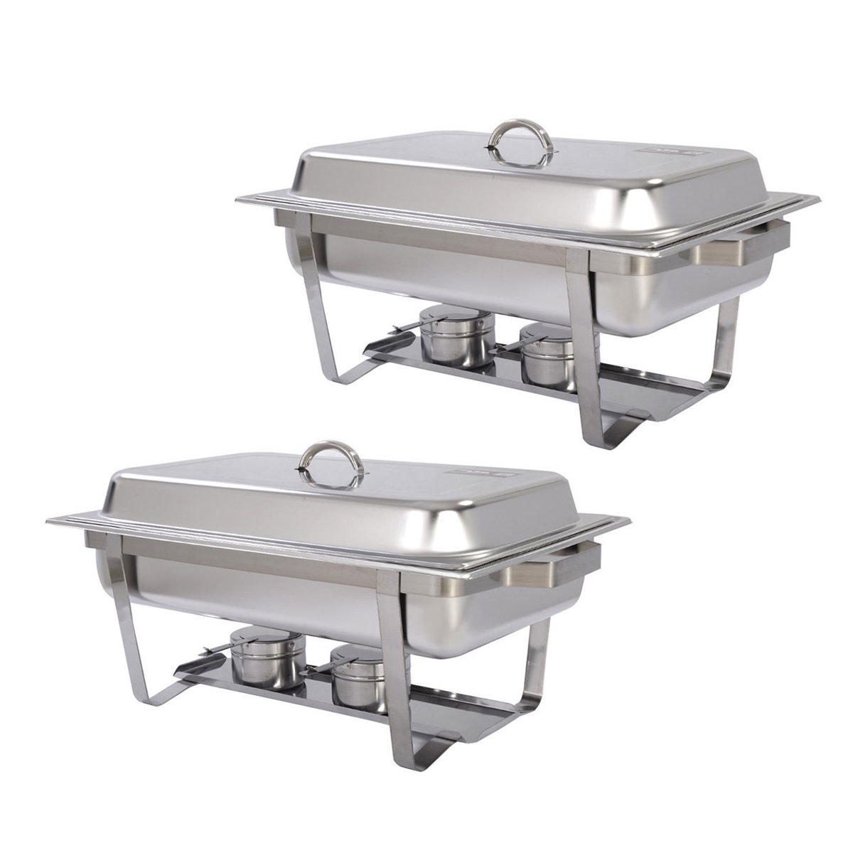8 Quart Chafing Dish Chafer Full Size - Stainless Steel Rectangular - 2 Pack by E